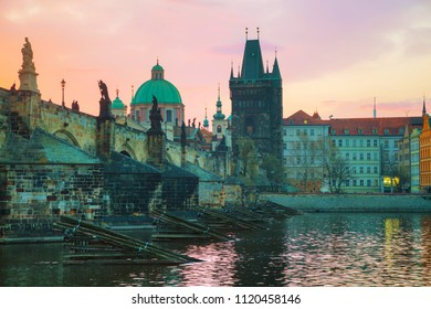 The Old Town Charles bridge tower in Prague in the morning