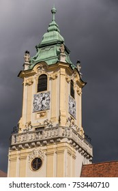 Old Town City Hall Clock Tower, Sky and Clouds in Bratislava Slovakia.