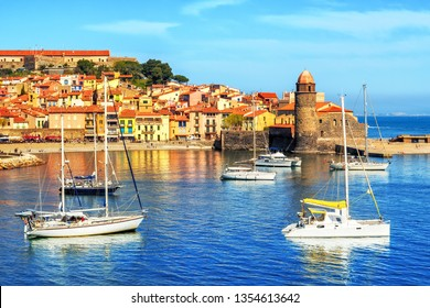 Old town of Collioure, France, a popular resort town on Mediterranean sea,  view of the habor and church