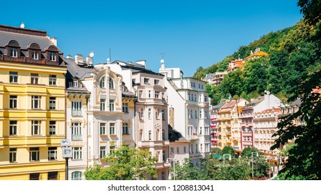 Old town colorful buildings in Karlovy Vary, Czech