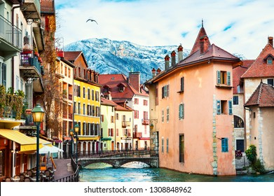 Old town with colorful buildings on canal in Annecy, France. Winter cityscape