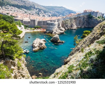 old town of Dubrovnik with its walls and seas