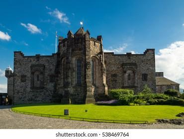 Old town Edinburgh and Edinburgh castle in Scotland, UK