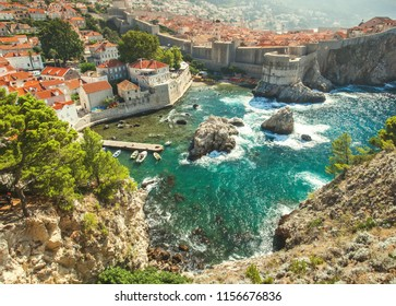 Old town in Europe on coast of Adriatic Sea. Dubrovnik. Croatia.