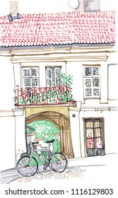 Old town European street. Hand drawn sketch style marker pen illustration. Urban romantic landscape with old house, windows, balcony, tiled roof, courtyard, bicycle. Vilnius, Lithuania famous view.