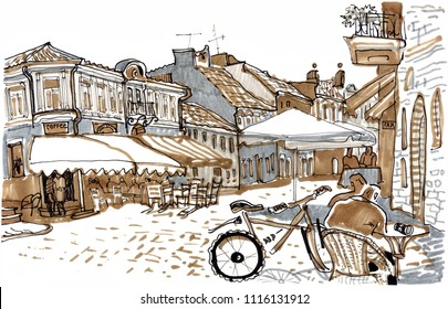 Old town European street. Hand drawn sketch style marker pen illustration. Urban romantic landscape with outdoor cafes, people. Sunny day, sunshade, bicycle, medieval houses. Kaunas. Lithuania