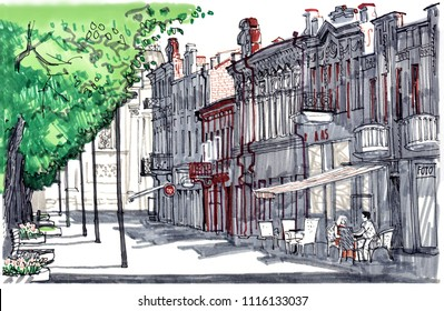 Old town European street. Hand drawn sketch style marker pen illustration. Urban romantic landscape with line of linden trees, cafes, people, old houses, a sunny day. City center of Kaunas. Lithuania