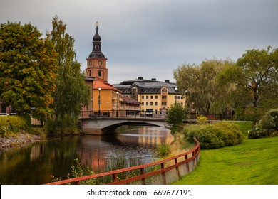 Old town of Falun with traditional red Swedish wooden dwellings. Dalarna County, Sweden.