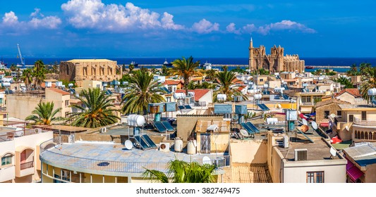 Old town of Famagusta (Gazimagusa), panoramic view. Cyprus.
