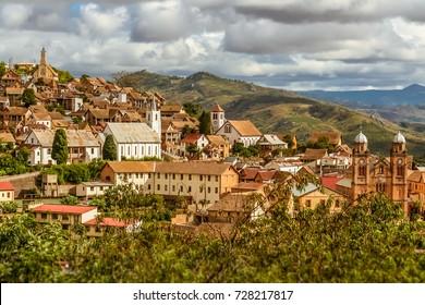 The old town of Fianarantsoa, Madagascar highlands
