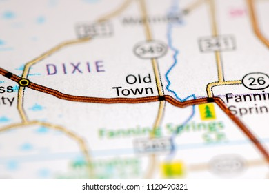Old Town. Florida. USA on a map