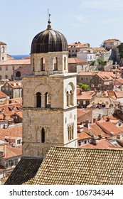 Old Town and Franciscan Monastery with Baroque Church. Dubrovnik Panorama taken at fortified walls. Dubrovnik - UNESCO World Heritage Site.