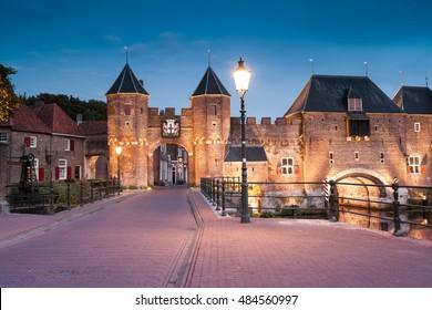 Old town gate (Koppelpoort) in Amersfoort, Province Utrecht.