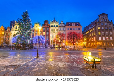 Old town of Gdanks with Christmas tree, Poland