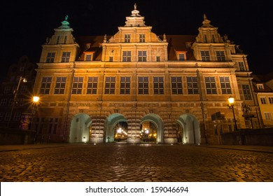 Old town of Gdansk at night. Gdansk is a city in Poland on the Baltic Sea. It is the capital of Pomerania. Its also Poland's principal seaport and a popular summer destination for many Poles.