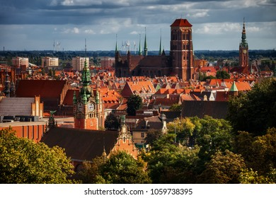 Old Town of Gdansk in Poland, cityscape of historic city center.