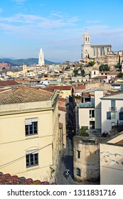 The old town of Girona. Top view from the fortress wall. Gerona, Catalonia, Spain.