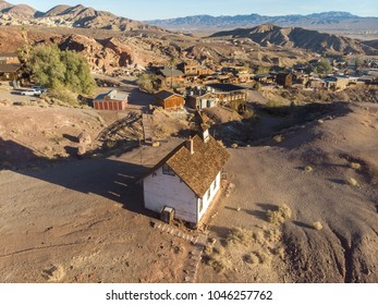 Old town of gold miners in the sunny desert. Calico gost town.