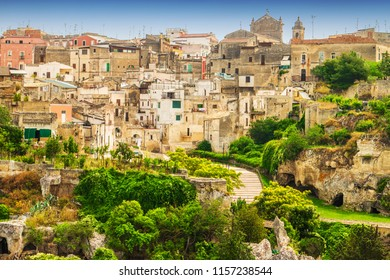 The old town of Gravina in Puglia in Southern Italy at sunset