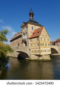 The old Town Hall (Altes Rathaus) over the Regnitz River of Bamberg. It is a UNESCO world heritage site - Bavaria, Germany