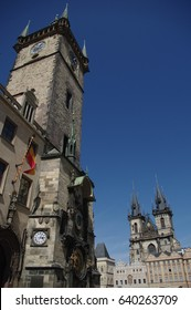 Old Town Hall with Astronomical Clock (Orloj) & Church of Our Lady before Týn, Prague, Czech Republic