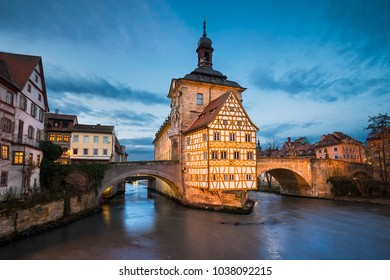 Old Town Hall of Bamberg at night, Germany