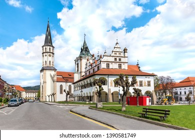 Old Town hall and Basilica of St. James in background on Master Paul's Square in Levoca - UNESCO (SLOVAKIA)