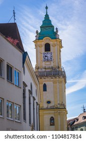 Old Town Hall building on Main Square of historic part of Bratislava city, Slovakia