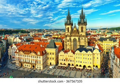 Old Town Hall, Town Square, Church of Our Lady before Tyn, Prague, Czech Republic.