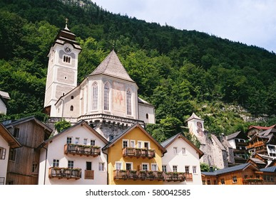 Old town in Hallstatt, there are many guesthouses, hotels, and houses in this small town called Hallstatt in Austria