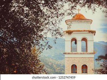 Old town Himara, south of Albania, stone church