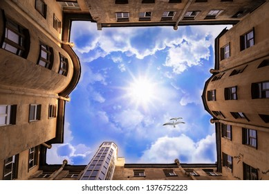 Old town house. Birds fly over the house. Bottom view. View of the sunny sky. Well, architektura old yards. - Shutterstock ID 1376752223