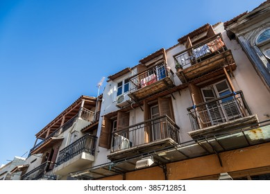 Old town house, building with wooden balconies, in Rethymnon city, Crete, Greece. View from the bottom