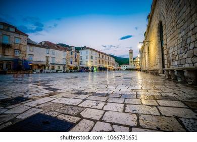 Old town Hvar island in the evening, Dalmatia, Croatia