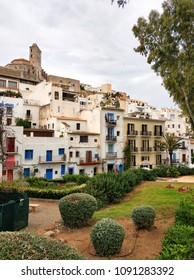 Old town of Ibiza (Eivissa). View to the famous castle of Dalt Vila  and whitewashed houses. Balearic Islands. Spain