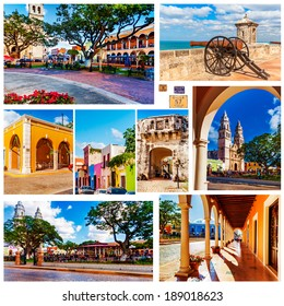 Old Town, Independence Plaza, Fort San Miguel Calle 57 and Puerta de Tierra in Campeche, Mexico