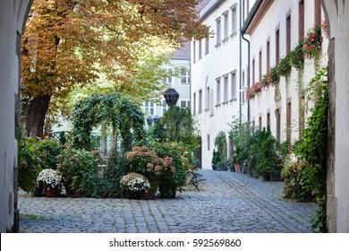 Old town inner garden. Regensburg, Bavaria, Germany.