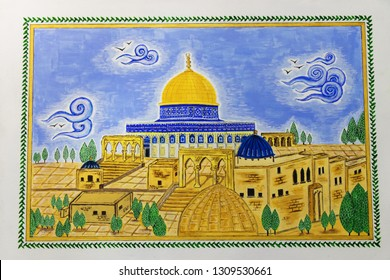 Old town of Jerusalem in miniature. Miniature of Golden Dome of the Rock. Masjid al-Aqsa. Islamic handicraft.