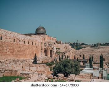 Old Town of Jerusalem and view from viewpoint to domes