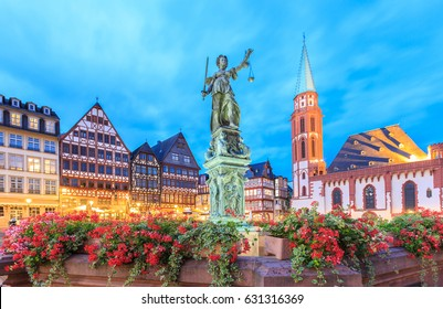 old town with the Justitia statue in Frankfurt, Germany