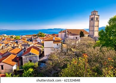 Old town of Kastav above Kvarner bay view, Opatija riviera of Croatia
