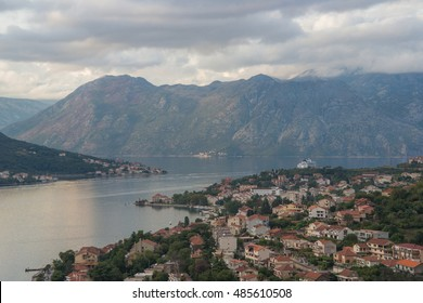 Old Town Kotor rooftops aerial view, Montenegro