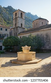 """Old Town of Kotor - UNESCO World Heritage site.  View of Square """"Pjaca od Drva"""" and  Church of St. Mary .  Montenegro"""