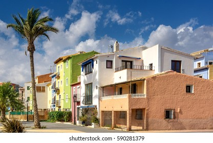 Old town of La Vila Joiosa. Colorful houses on the Mediterranean Sea in southern Spain