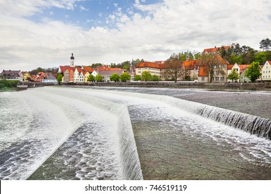 Old town Landsberg in Bavaria with river Lech, Germany