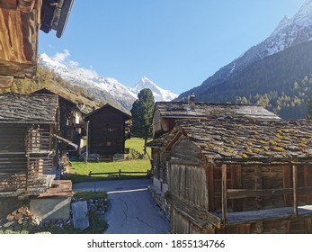Old town of Les haudères in Swiss Alps - Mesmerizing panorama - Shutterstock ID 1855134766
