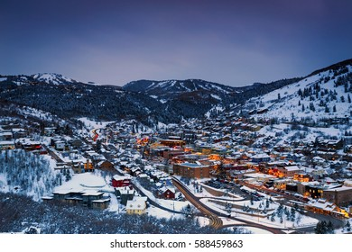 Old town lights in Park City, Utah, USA.
