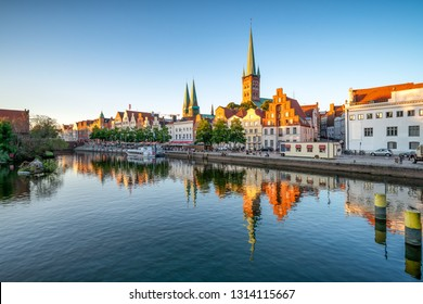 Old town of Lubeck along the Trave river, Schleswig-Holstein, Germany
