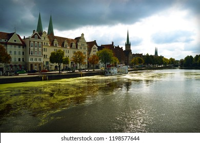 Old town Lubeck, Germany. Embankment of the river Trave.