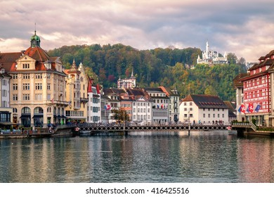 Old town of Lucerne and Chateau Gutsch on Reuss River, Switzerland